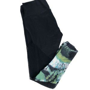 Onzie Forest Print Mesh Black Midi Leggings S/M